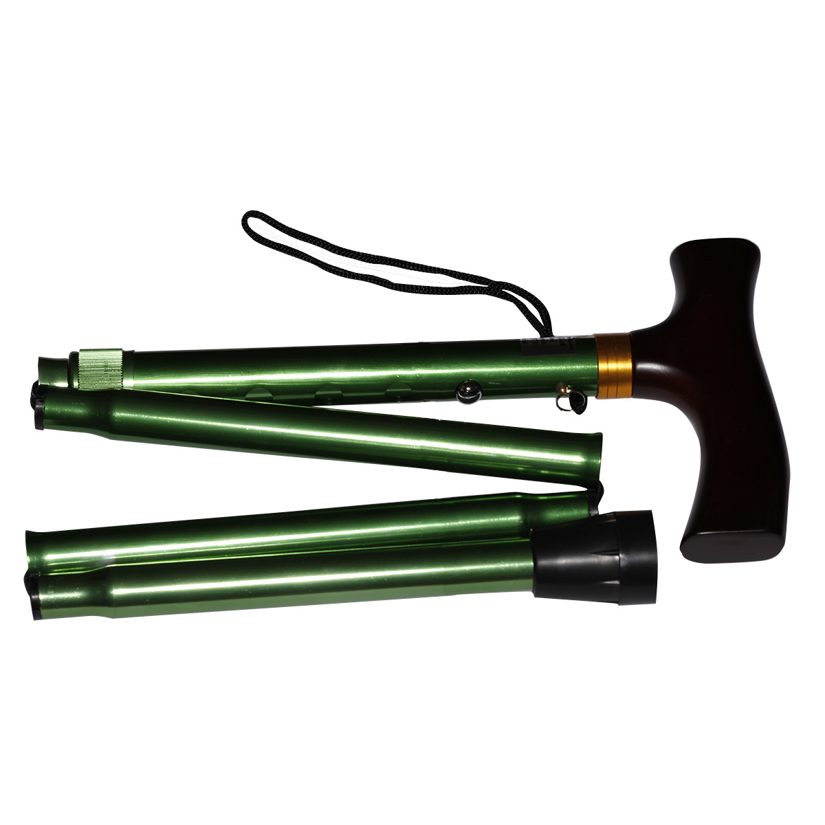 Adjustable Folding Walking Stick Emerald Green