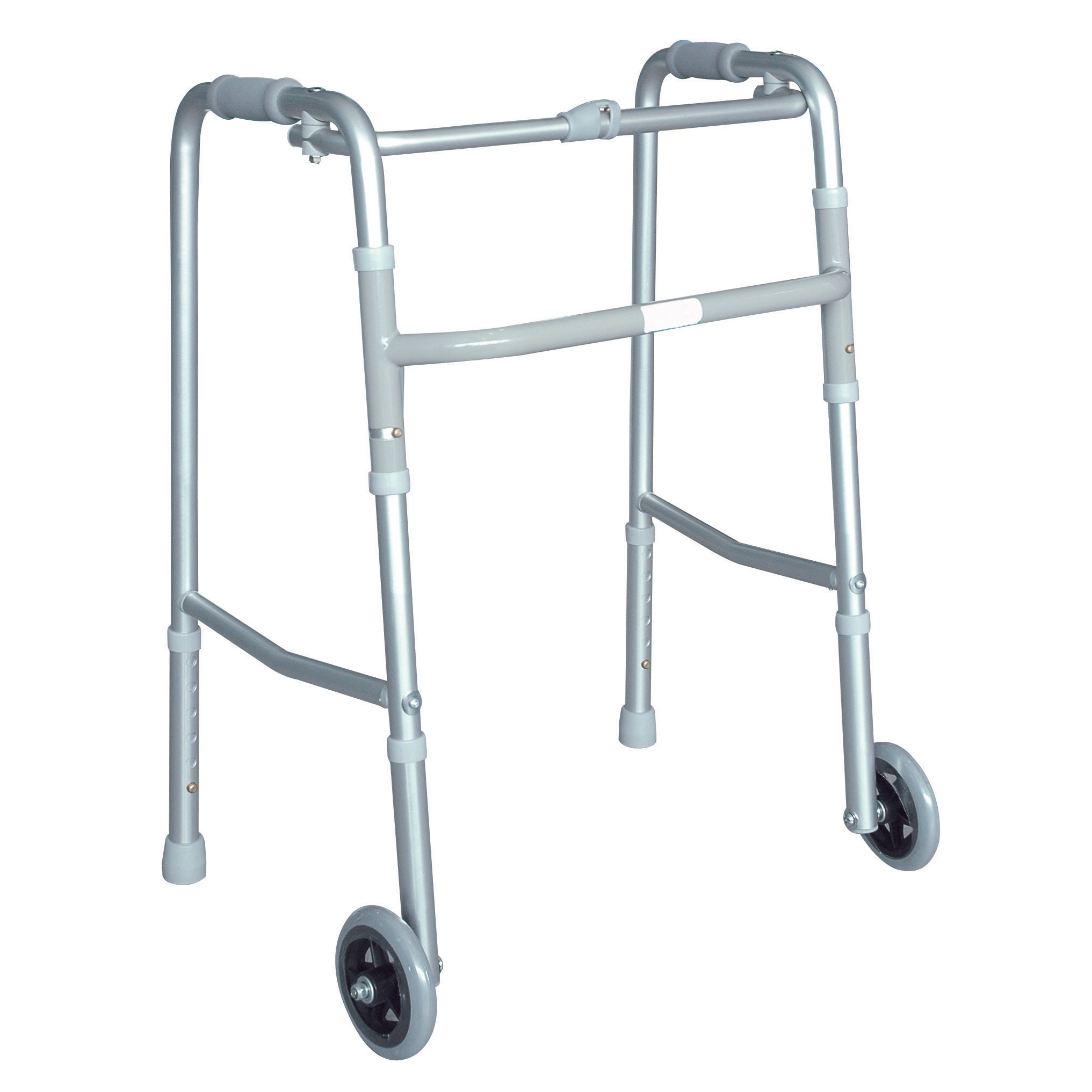 Chrome Walking Frame with Wheels